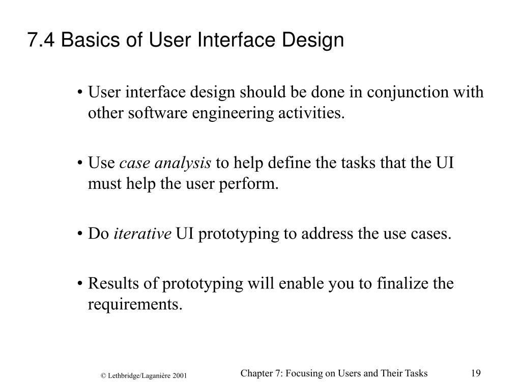 7.4 Basics of User Interface Design