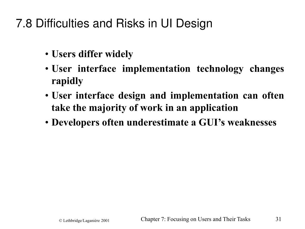 7.8 Difficulties and Risks in UI Design