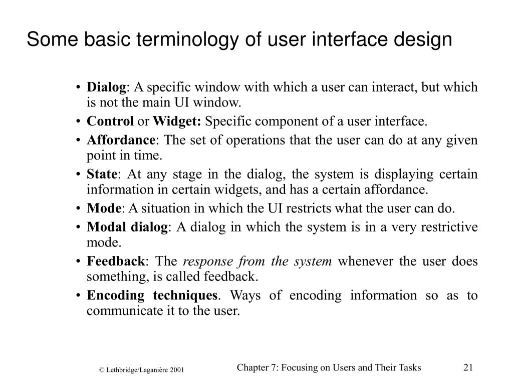 Some basic terminology of user interface design