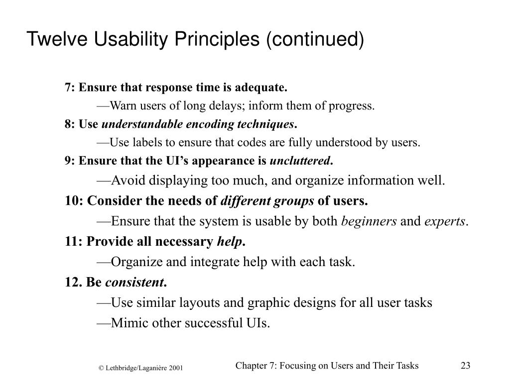Twelve Usability Principles (continued)