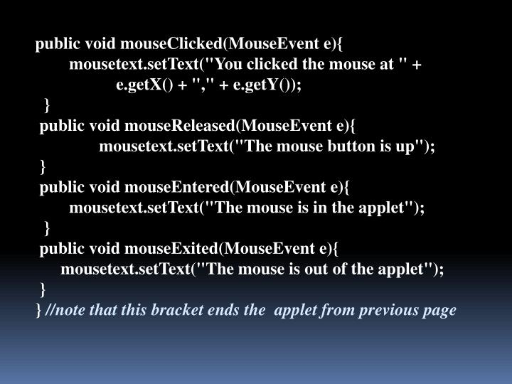 public void mouseClicked(MouseEvent e){
