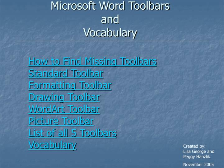 microsoft word toolbars and vocabulary n.