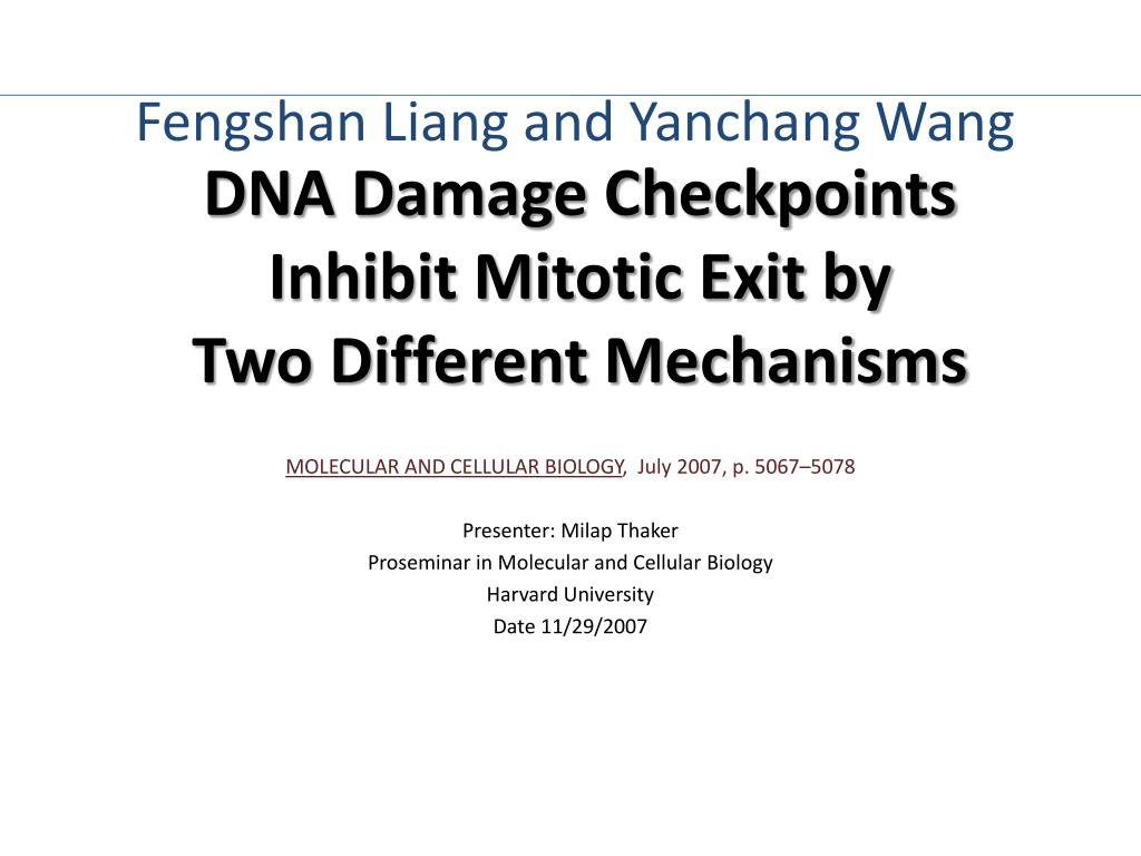 DNA Damage Checkpoints Inhibit Mitotic Exit by