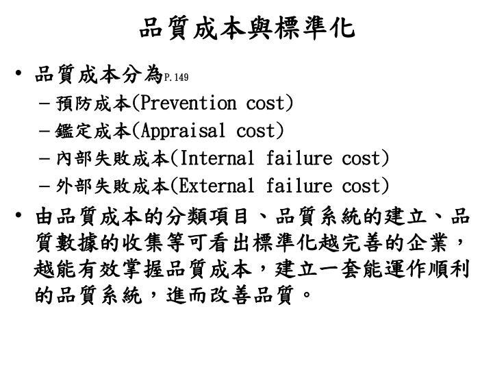 品質成本與標準化