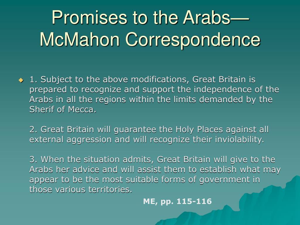Promises to the Arabs—McMahon Correspondence