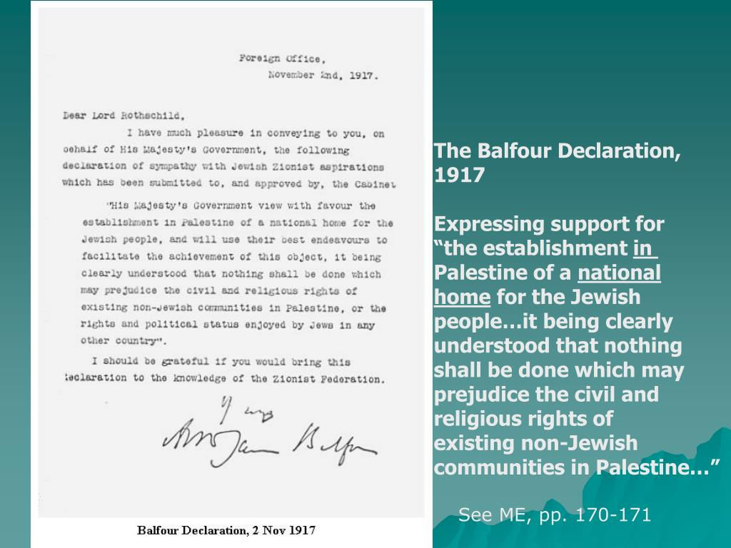 The Balfour Declaration,