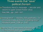 three events that save political zionism