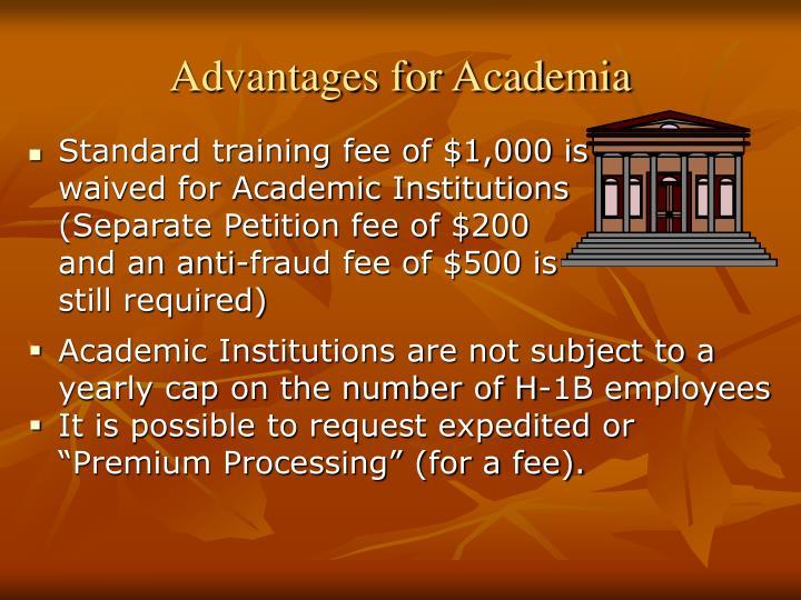 Advantages for Academia