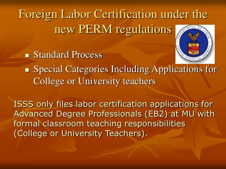 Foreign Labor Certification under the new PERM regulations