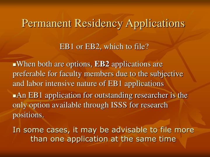 Permanent Residency Applications