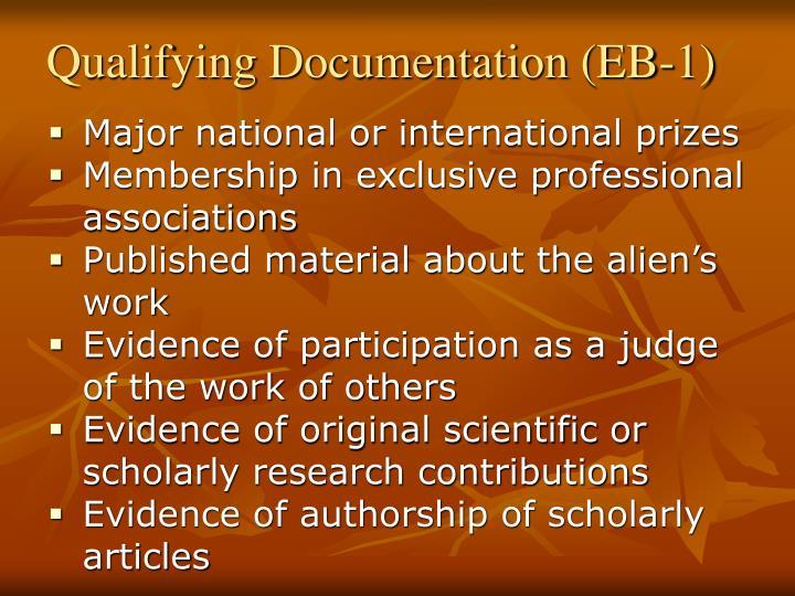 Qualifying Documentation (EB-1)