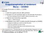 evapotranspiration et rendement maroc cesbio