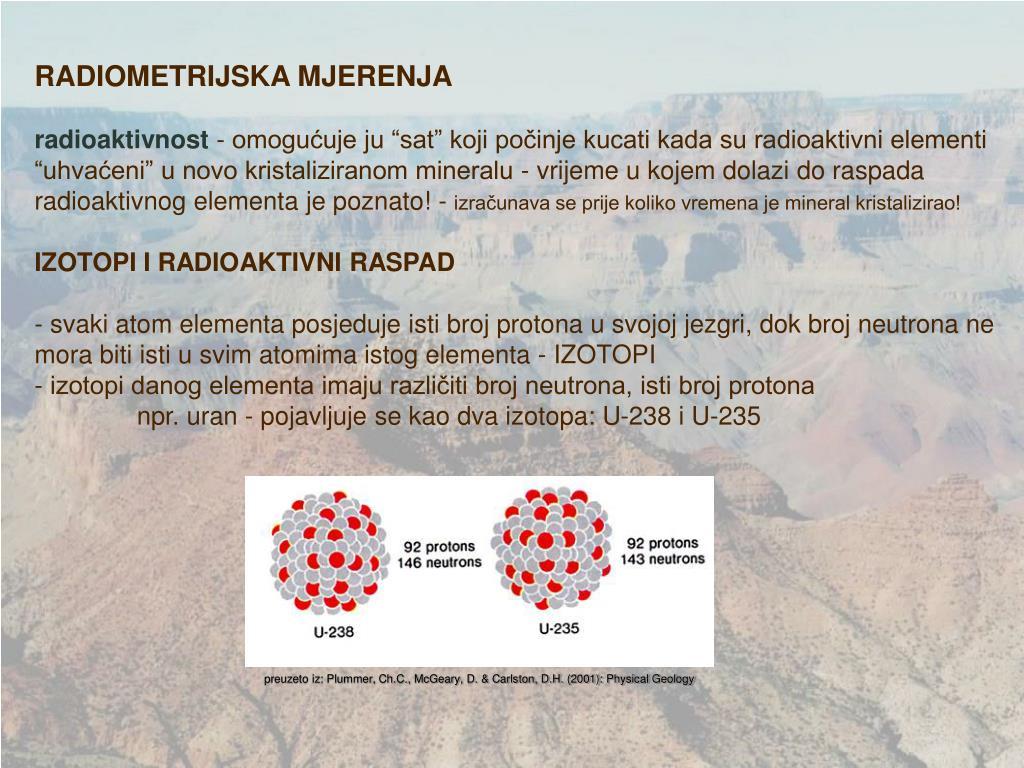 koja su načela radiometrijskog datiranja