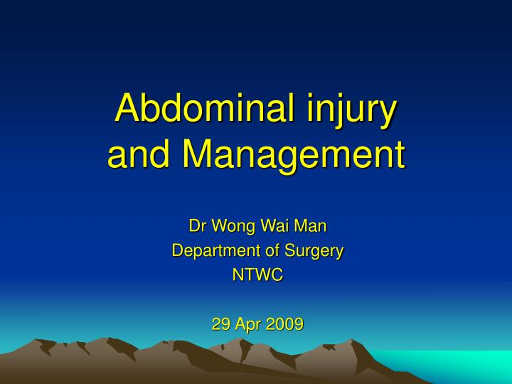 abdominal injury and management n.