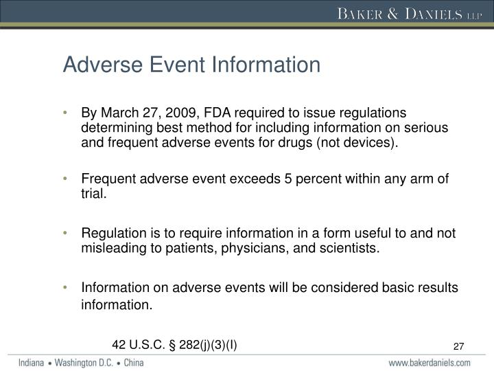 Adverse Event Information