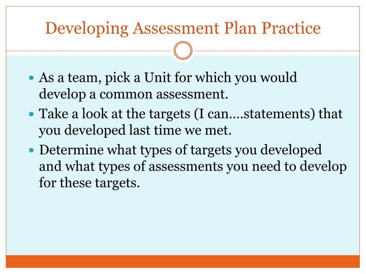 Developing Assessment Plan Practice