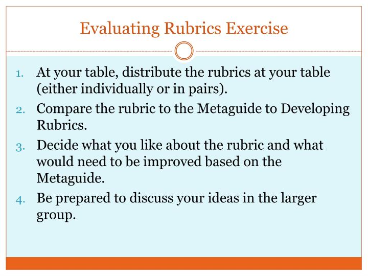 Evaluating Rubrics Exercise