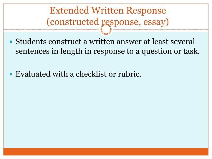Extended Written Response
