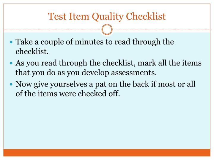 Test Item Quality Checklist
