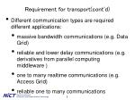 requirement for transport cont d