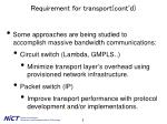 requirement for transport cont d2