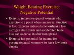 weight bearing exercise negative potential