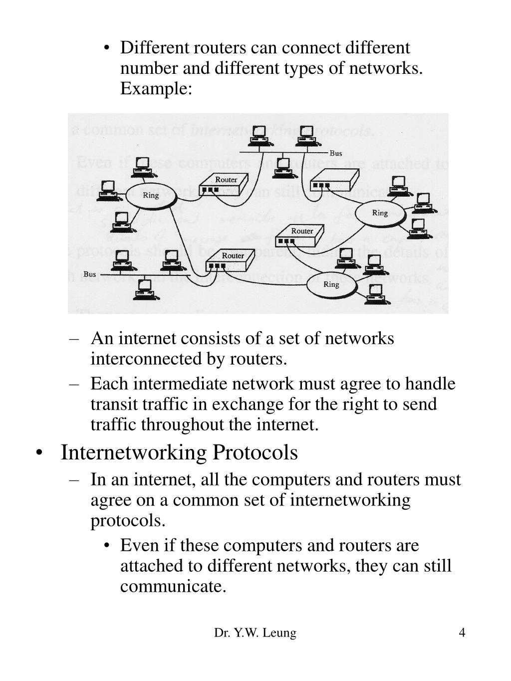 Different routers can connect different number and different types of networks.  Example: