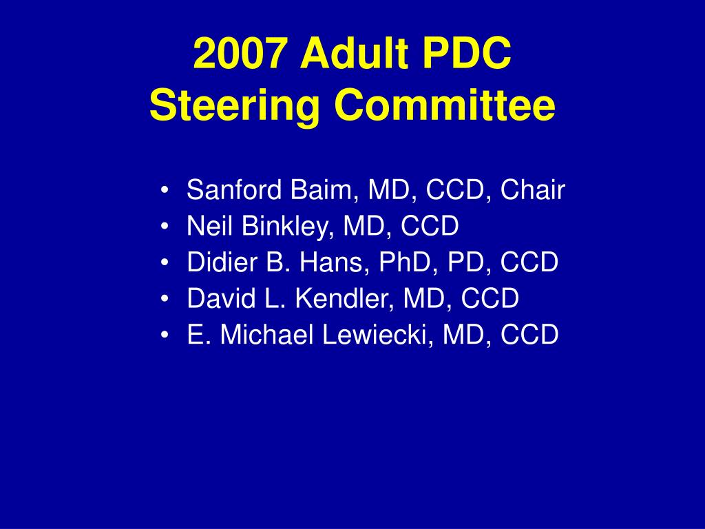 2007 Adult PDC