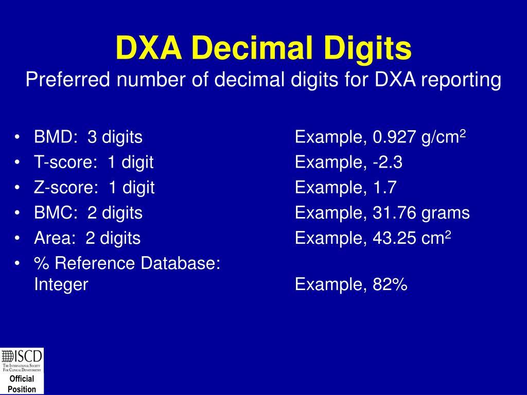 DXA Decimal Digits