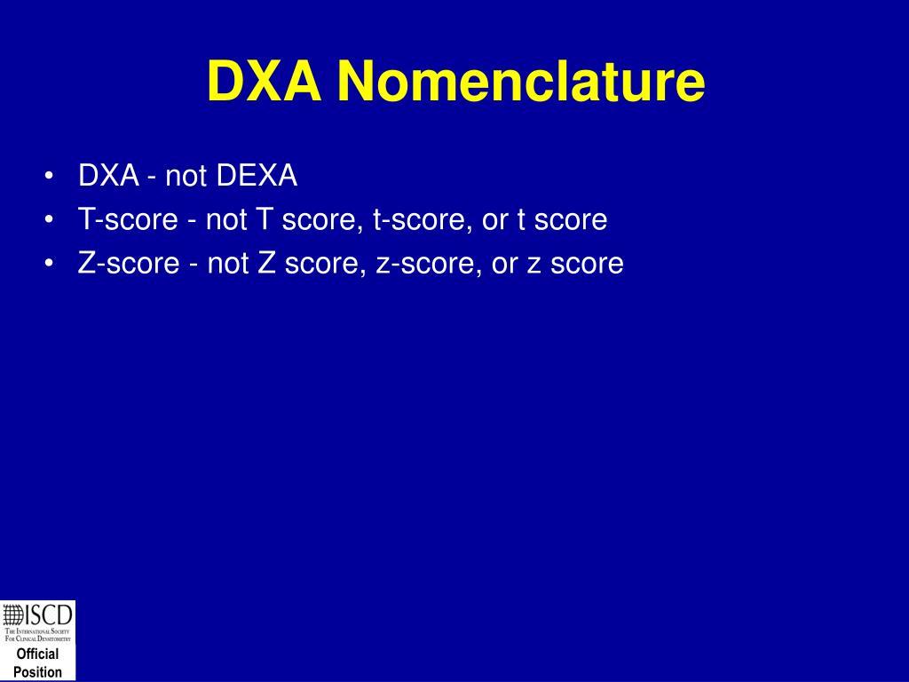DXA Nomenclature