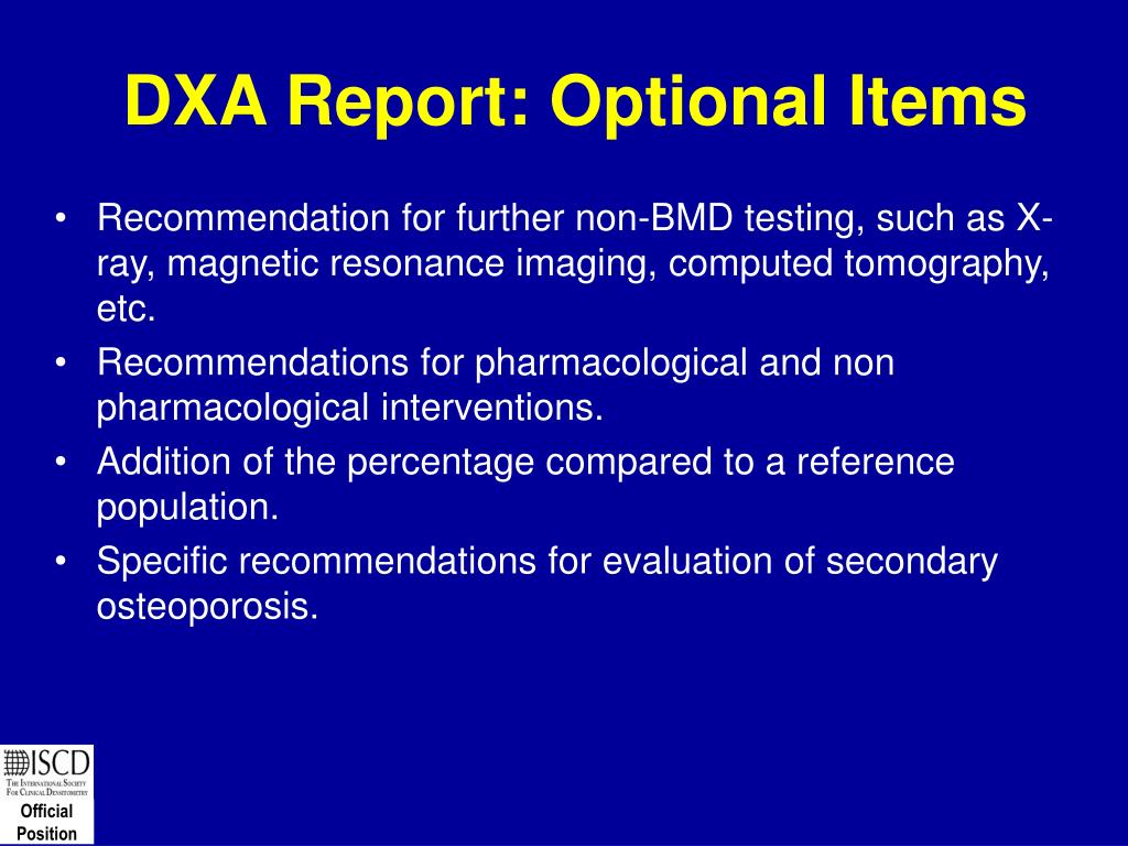 DXA Report: Optional Items