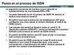 pasos en el proceso de isdn