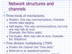 network structures and channels