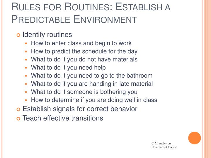 Rules for Routines: Establish a Predictable Environment