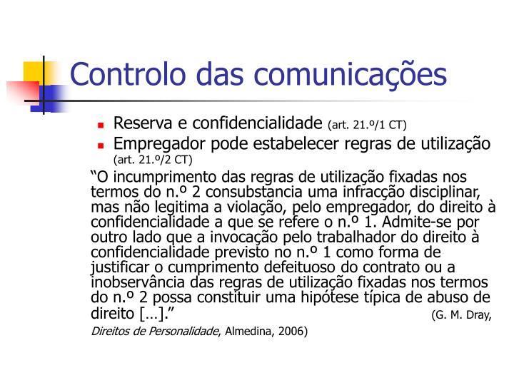 Controlo das comunicações