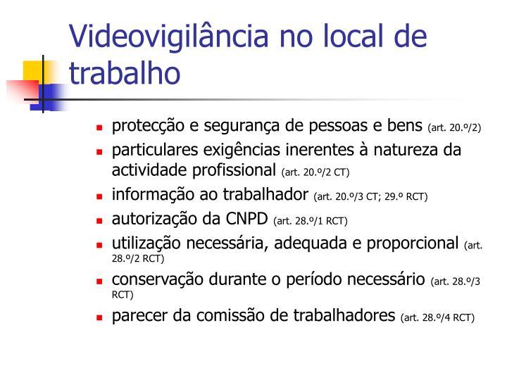Videovigilância no local de trabalho