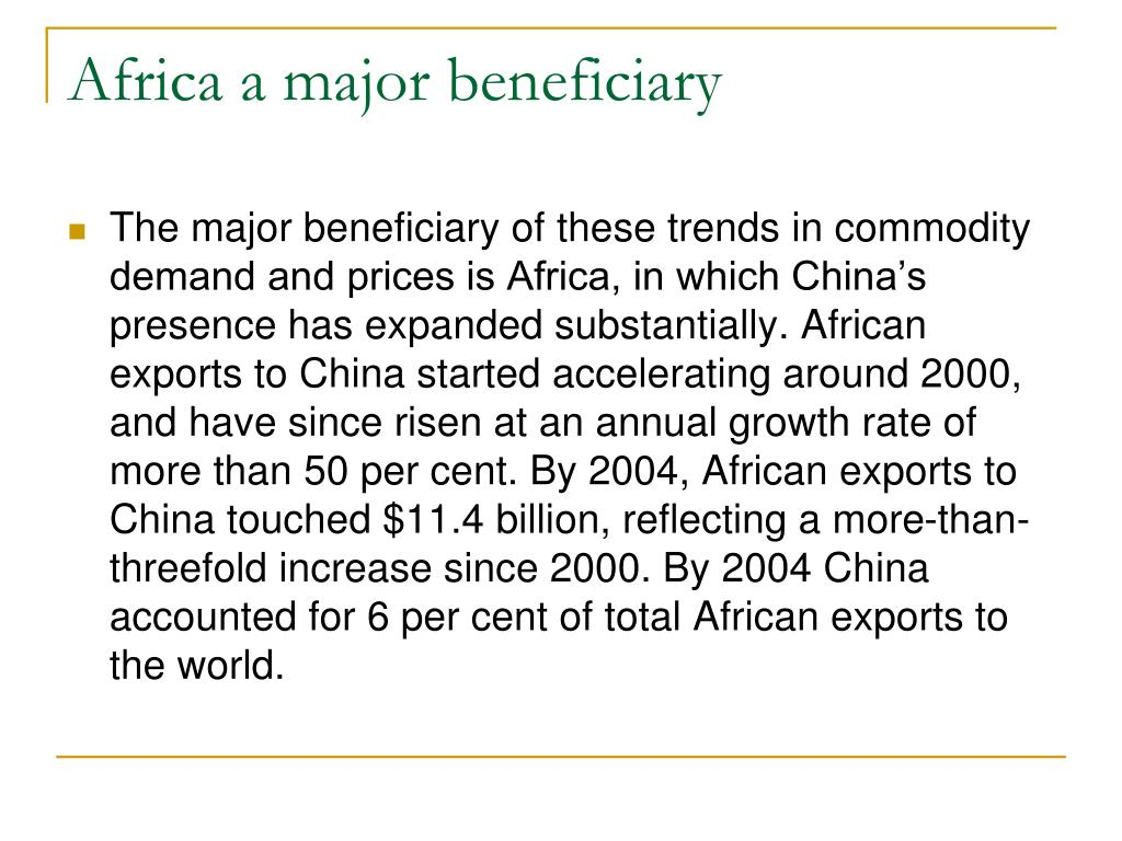 Africa a major beneficiary
