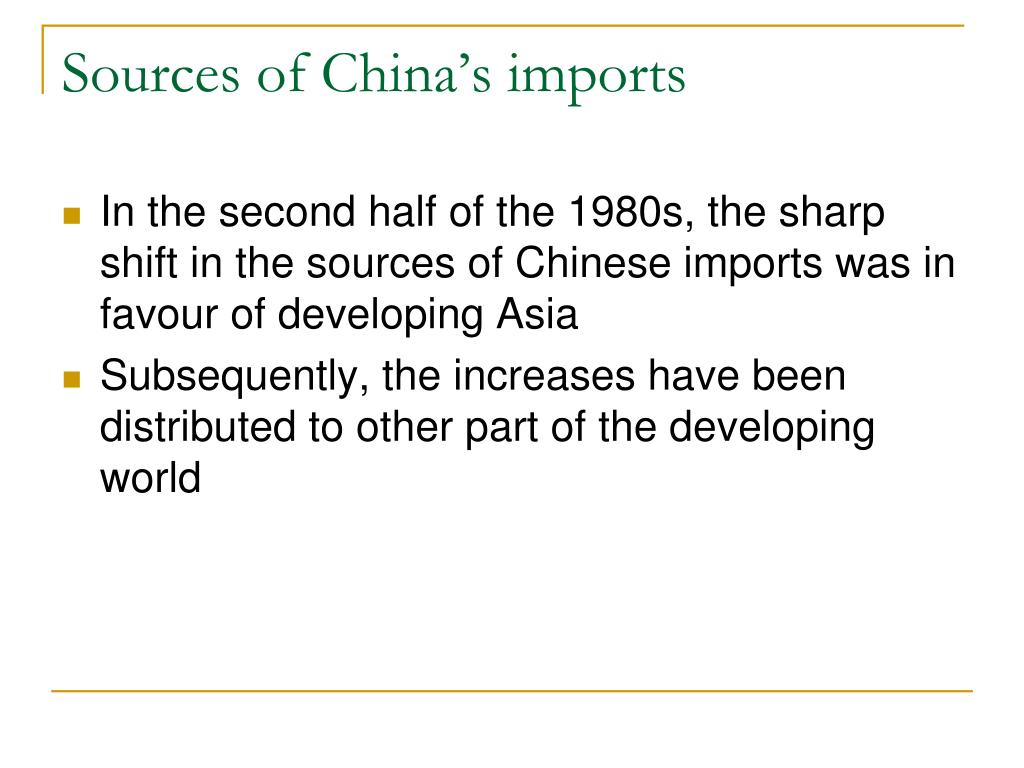 Sources of China's imports