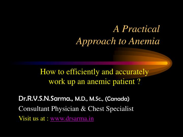 a practical approach to anemia n.