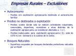 empresas rurales exclusiones