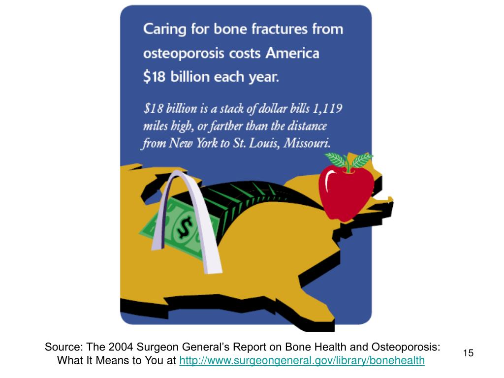 Source: The 2004 Surgeon General's Report on Bone Health and Osteoporosis: