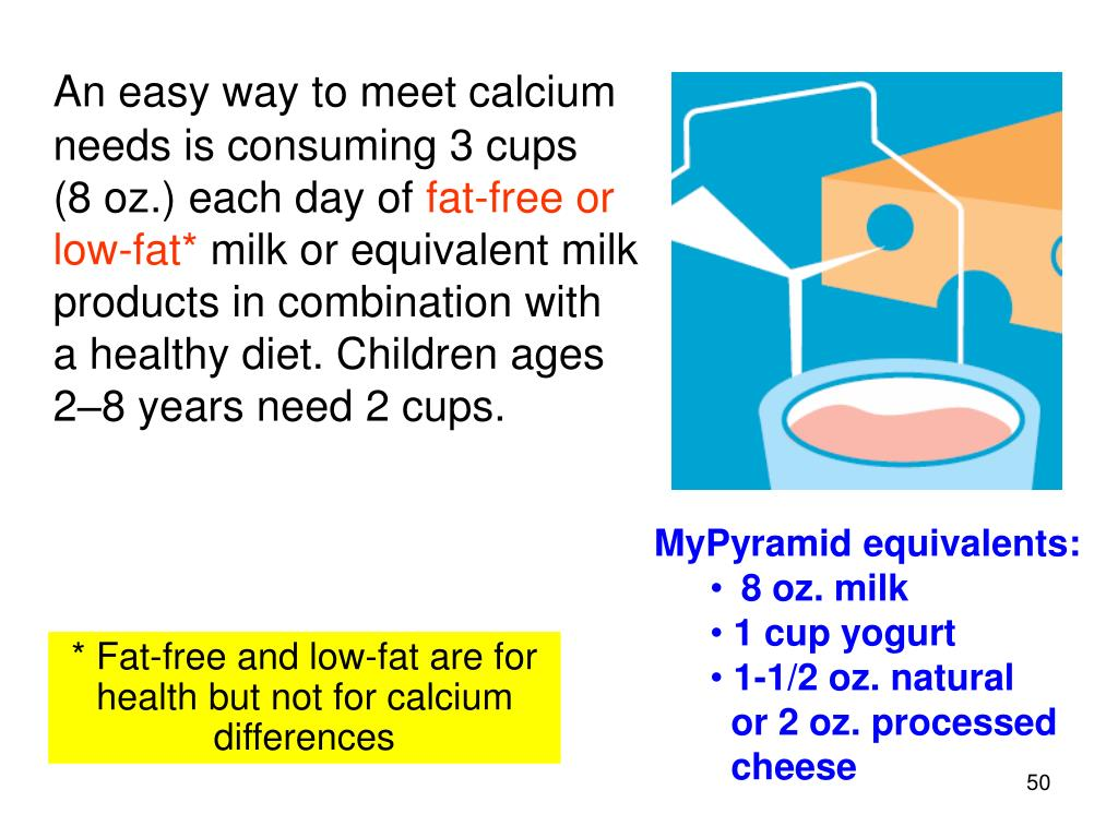 An easy way to meet calcium needs is consuming 3 cups