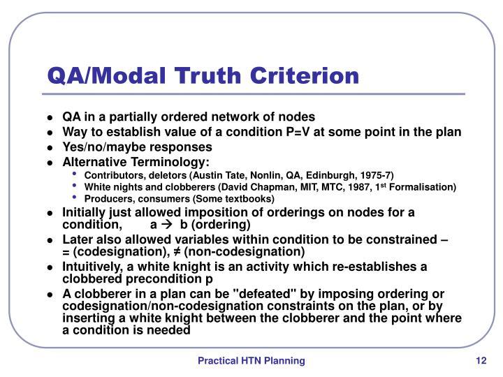 QA/Modal Truth Criterion
