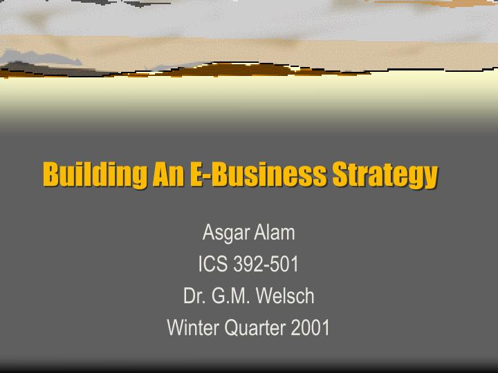 building an e business strategy n.
