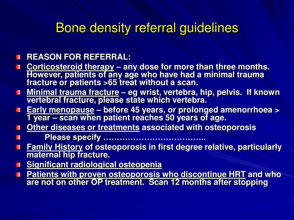 Bone density referral guidelines