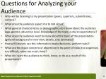 questions for analyzing your audience