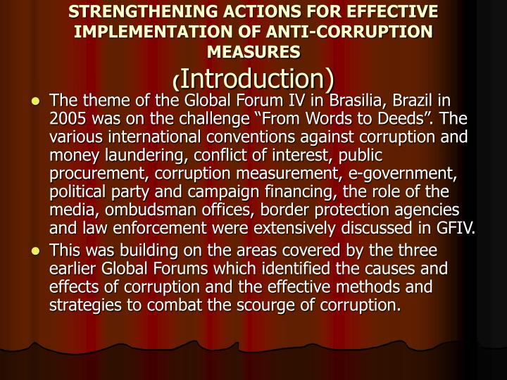 Strengthening actions for effective implementation of anti corruption measures introduction