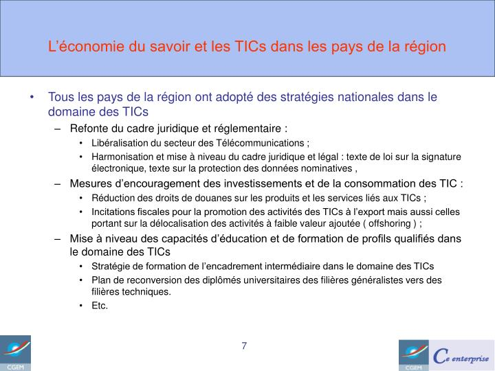 L'économie du savoir et les TICs dans les pays de la région