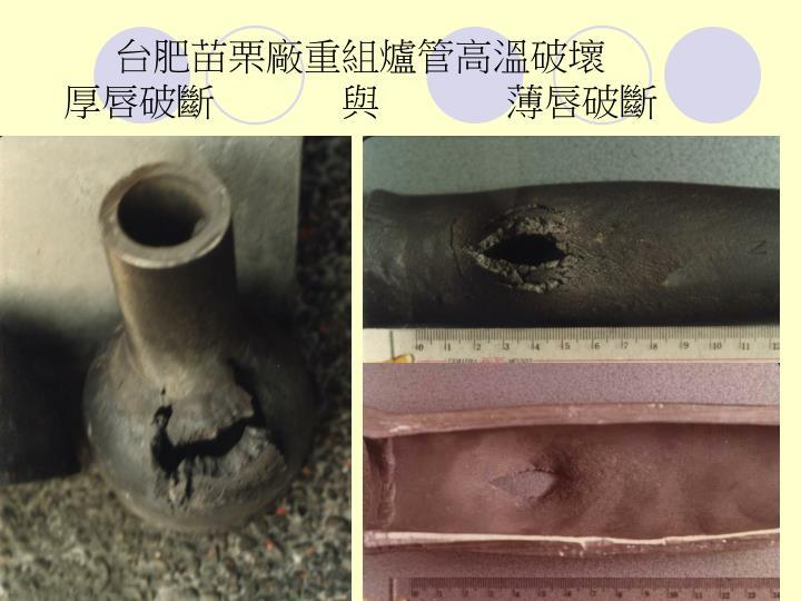 台肥苗栗廠重組爐管高溫破壞