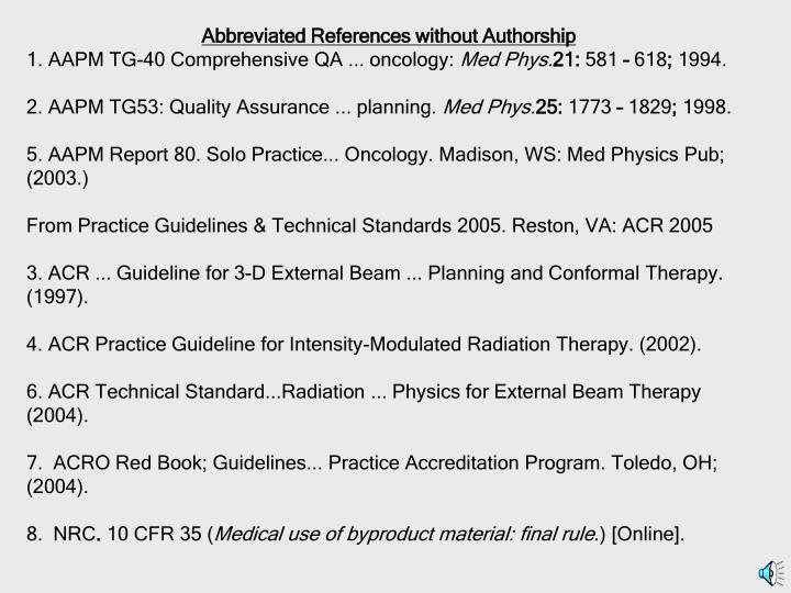 Abbreviated References without Authorship